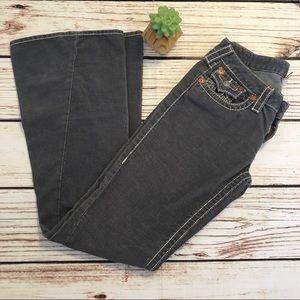 True religion gray corduroy bell bottom jean sz 29